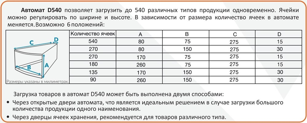 Характеристики ячеек аппарата Вендинг-Бокс Д540
