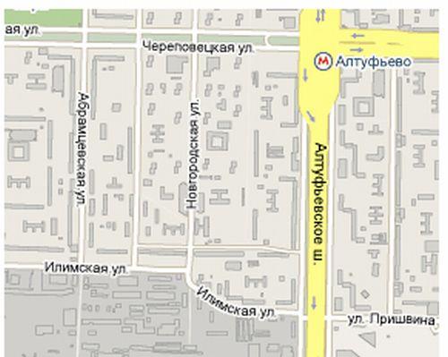 Схема проезда   ВамПолис   Новгородская дом 1.(м. Алтуфьево)
