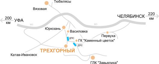 Схема проезда | Атрон | Россия, Челябинская область, Трёхгорный, Заречная улица, 15а