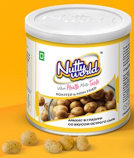 арахис в глазури со вкусом острого сыра в тубе, 140 гр.