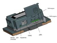 Ingenico iUP250. Вид сбоку. Выход для подсветки. SIM, SAM, COM